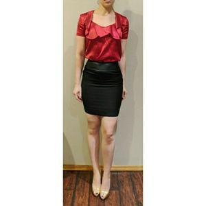 D&G black Wool Leather Trim Mini Skirt SZ 40 US 4